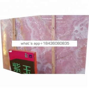 Backlit wall decoration marble tile pink Chinese onyx slab stone