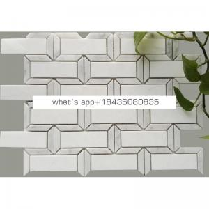 Bathroom floor 3d stone mosaico basketweave white tile marble mosaic