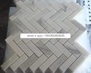 Cheapest carrara white marble mosaic bathroom floor herringbone tile