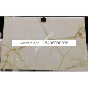 Good price backlit onyx sheet golden vein Iran marble white onyx slab