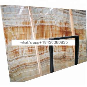Home indoor wall decoration counter top yellow wood onyx marble slab