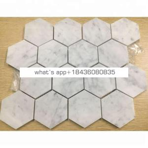 Hot sale natural stone marble bianco carrara white hexagon mosaic tile