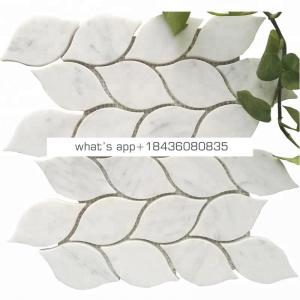 Leaf design natural stone carrara white marble mosaic