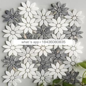 Marble stone custom white mosaic flower marble mosaic tile for floor