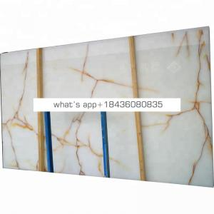 Natural stone backlit polished slab bianco gold veins white onyx