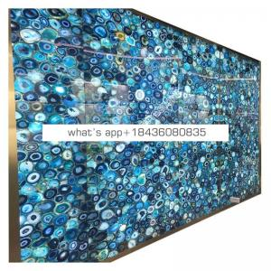 Perfect composite semi stone used table top precious blue onyx agate stone slab