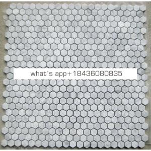 Stone hexagon bathroom kitchen floor wall tile white marble mosaic