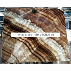 Wall cladding brown wooden translucent backlit panel marble onyx slab