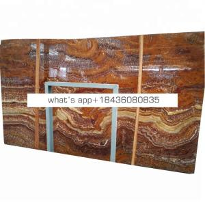Wall marble slab backlit tiger brown onice onyx