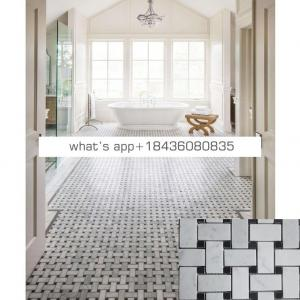 White marble floor inlay pattern basketweave mosaic tiles for bathroom