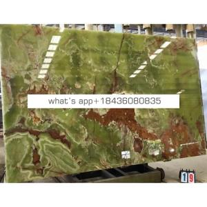 Wholesale price gold veins wall cladding open book green onyx marble
